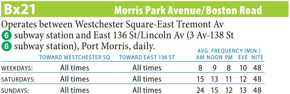 Bx21 Bus Route - Maps - Schedules