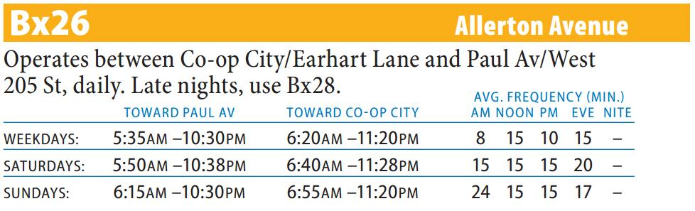 Bx26 Bus Route - Maps - Schedules