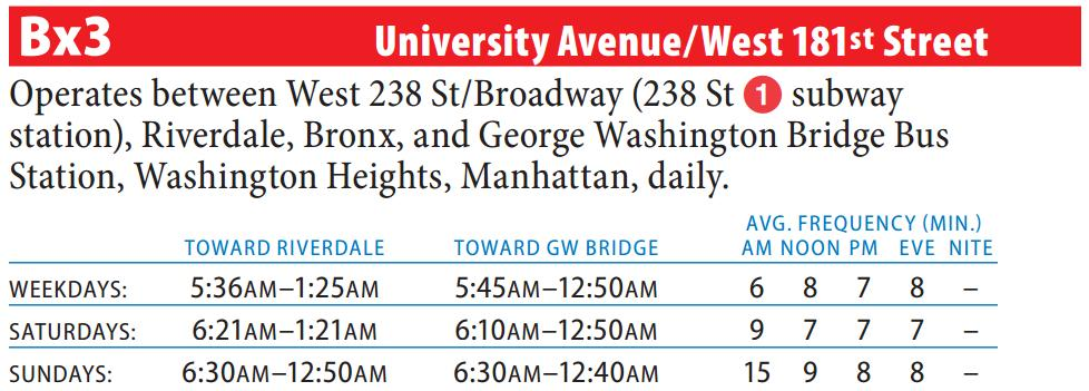 Bx3 Bus Route - Maps - Schedules