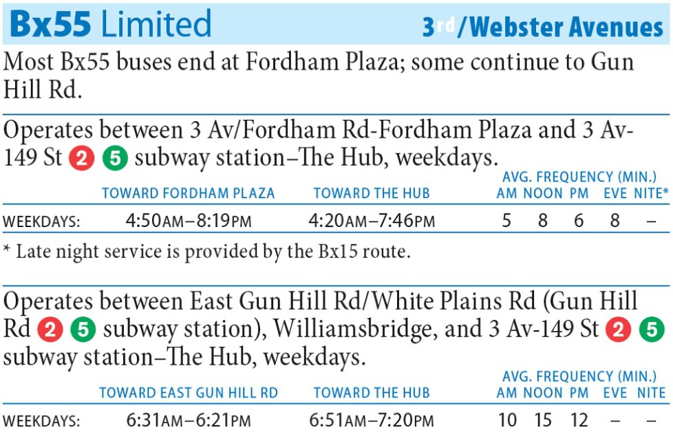 Bx55 Bus Route - Maps - Schedules