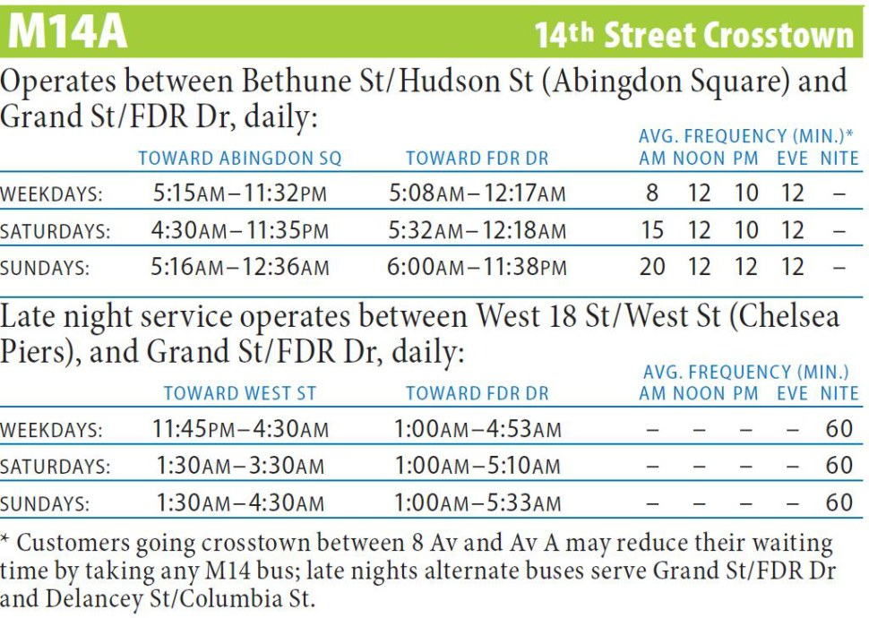 M14A Bus Route - Maps - Schedules