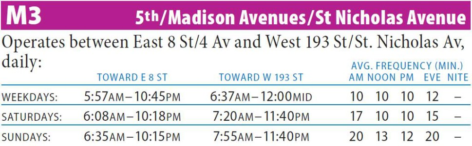 M3 Bus Route - Maps - Schedules