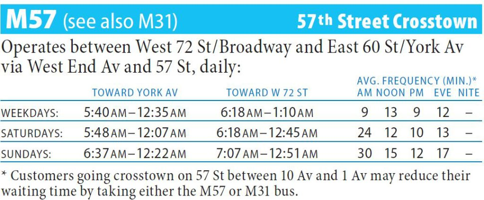 M57 Bus Route - Maps - Schedules