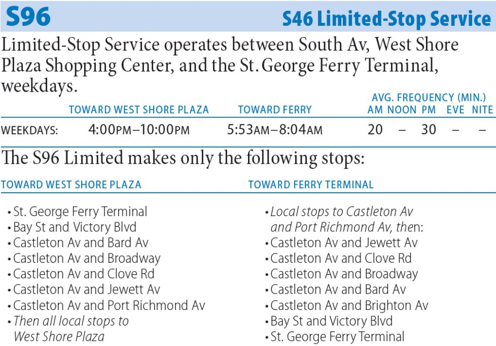 S96 Bus Route - Maps -Schedules