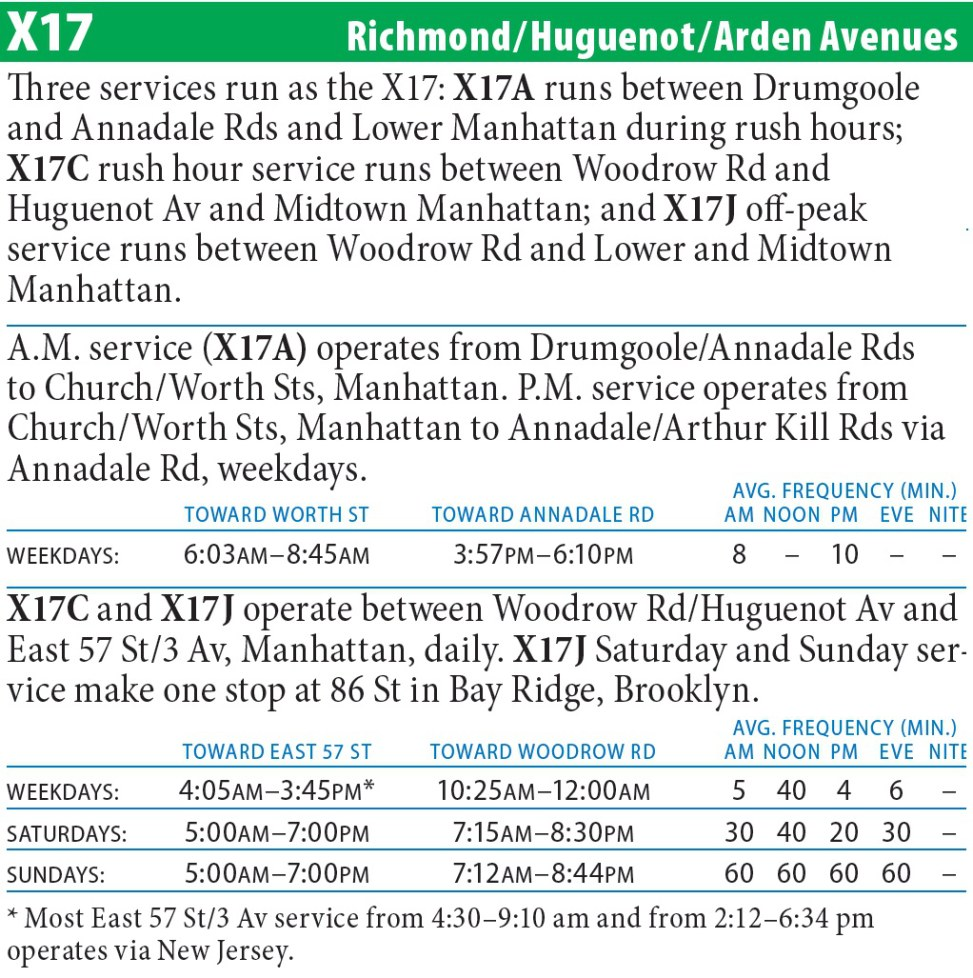 X17J Bus Route - Maps -Schedules